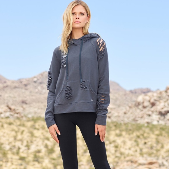 ALO Yoga Tops - Alo Ripped Hoodie In Anthracite